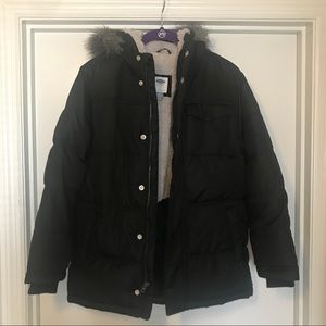 Boys Old Navy sherpa lined puffer coat with hood
